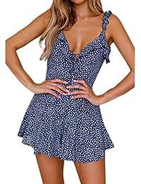 180ecda43d2d NINGSUN Elegante Donne Stampato floreale Manica corta V-Collo Vestito estivo  Beach Ruffled Skirt Abito