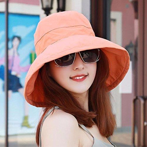 Kappe Thin Outdoor Visor Zusammenklappbar Sommer Strand Hut Basin Cap Baumwolle Sonnenhut Sonne Orange A (Zusammenklappbare Hut Schwarz Für Erwachsene)