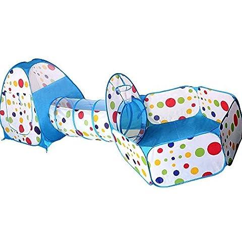 Shayson ensemble de tente de jeu combiné, les enfants pop-up intérieur maison de jeu en plein air avec tunnel, terrain de jeu, salle, Playhouse (bleu)
