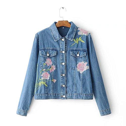 QIN&X Veste en jean Slim femmes Tops Manteau Veste Outwear Jean Denim Blue