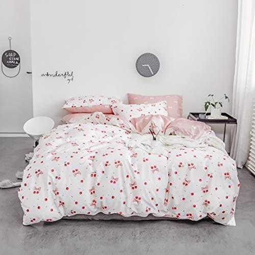 Obst Stil 100% reiner Baumwolle Bettwäsche-Set Kirsche Bettbezug Teens Mädchen Kinder Frauen Versteckter Reißverschluss Bettbezug Weiß Rot Bettbezug Rosa Flach / Bettlaken KEINE Steppdecke KEINE Bettd - Mädchen Bettwäsche Teen Rosa