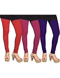 CAY 100% Cotton Combo of Purple, Dark Pink and Red Color Plain, Stylish & Most Comfortable Leggings For Girls & Women with Full Length (SIZE : Free Size)