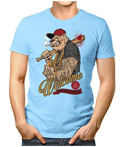 PRILANO Herren Fun T-Shirt - WELCOME-GANGSTER-DOG - Small bis 5XL - NEU Hellblau