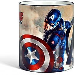 Vengadores Edad de Ultron Capitán América taza taza de café El logotipo de superhéroes regalo licencia 300ml azul