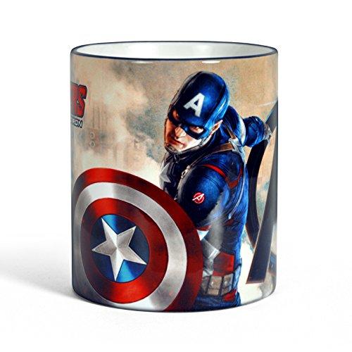 Avengers Age of Ultron Captain America Tasse Kaffeebecher Das Geschenk mit Superhelden Logo lizenziert blau (America Superheld Captain)