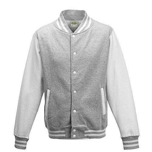 Just Hoods - Unisex College Jacke 'Varsity Jacket' BITTE DIE JH043 BESTELLEN! Gr. - L - Heather Grey/White (Heather Unisex Grey Baumwolle)