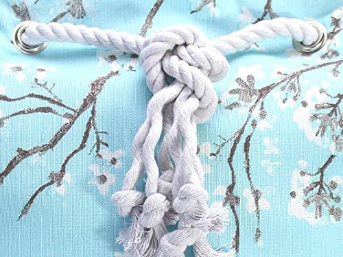 Blauer Rucksack mit goldenem Boden. Canvas Seesack mit Kirschblüten - 4