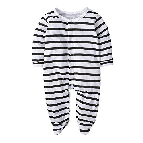 BIG ELEPHANT Baby Jungen '1 Stück Snap-Up gestreifte lange Ärmel Spielanzug Kleidung H38 (Lange Snap)