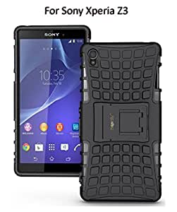 Heartly Flip Kick Stand Spider Hard Dual Armor Hybrid Bumper Back Case Cover For Sony Xperia Z3 - Best Black