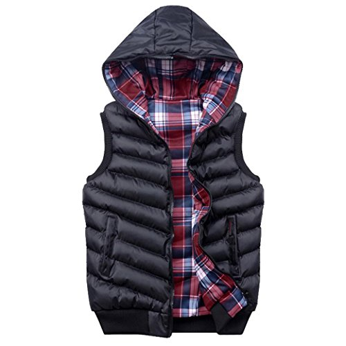 Tangda Herren Westen Winterjacke Weste Reißverschluss beide Seite Tragen Coat Outwear Männer Jacke Daunenweste mit Kapuze Größe/Farbe Wählbar Schwarz