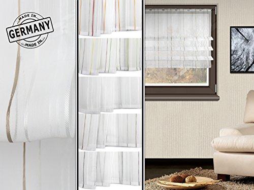 Clipraffstore Pascal von deko trends - halbtransparenter Dekostoff in elegantem Design - made in Germany - erhältlich in 5 harmonischen Farbkombinationen mit einer Stoffbreite von ca. 132 cm, weiß/grau/hellbraun/beige