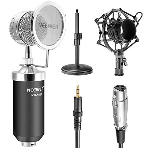 Neewer® (1)NW-1500 Professional Desktop Broadcast & Recording Condenser Microphone with Audio Cable+(1)NW-02 Iron Desktop 4.7