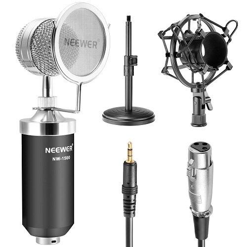 Neewer Microfono a Condensatore con Cavo Audio (NW-1500), 12-19cm Stand di Ferro per Microfono (NW-02), Shock Mount di Metallo, Filtro Anti-vento per Trasmissione & Registrazione Desktop