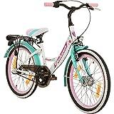 Galano 20 Zoll Kinderfahrrad Blossom Mädchenrad Jugendrad Cityrad (weiß/grün/pink)