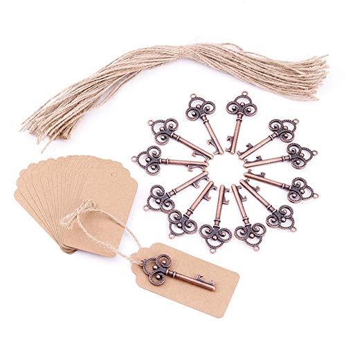 Kimmyer apribottiglie chiave in oro rosa da 50 pezzi con tesserino di escort e spago, per la festa di laurea dell'anniversario, antiche chiavi rustiche decorazioni per feste di natale