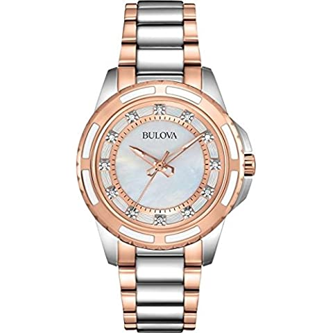 Bulova Diamond Girl-Orologio da donna al quarzo Con quadrante in madreperla, Display analogico e bianco, in acciaio INOX placcato in oro rosa, 98S134