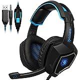 [Gaming Headset PS4] LIHAO Sades L9 Auricular Estéreo con Micrófono LED para PS4, MAC y Móvil (Azul y Negro, con Caja)