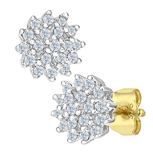 Naava Women's 1 ct Heart Shaped 18 ct Yellow Gold Diamond Cluster Earrings