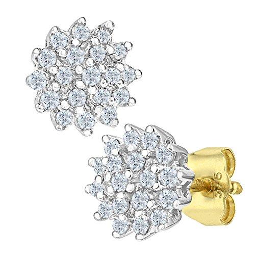 Naava Damen-Ohrstecker 9 Karat Cluster Ohrringe 375 Gelbgold teilrhodiniert Diamant (0,25 ct) weiß Rundschliff PE02585Y (Gold-schwarzer Diamant-ohrringe)