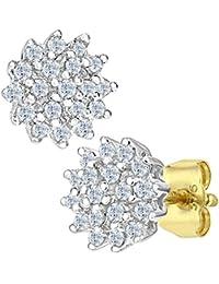 Naava Damen-Ohrstecker 9k Cluster Ohrringe 375 Gelbgold teilrhodiniert Diamant (0,25 ct) weiß Rundschliff