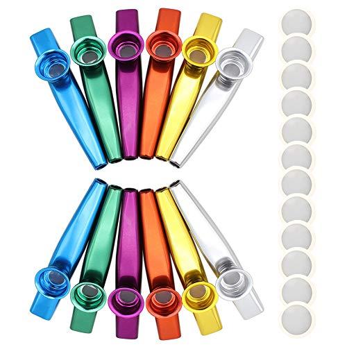 Novelfun 12 Stück Metall Kazoo Musikinstrumente Ein guter Begleiter für Gitarre, Ukulele, Violine, Klaviertastatur mit 12 Kazoo Flöten-Membranen, tolles Geschenk für Kinder Musikliebhaber