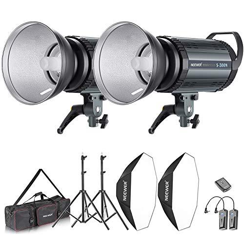 Neewer 600W Fotostudio Strobe Flash und Softbox Beleuchtung Kit: Monolicht Flash Reflektor Bowens Montage Lichtständer Softbox Modelllampe RT-16...