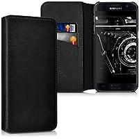 kalibri Hülle für Samsung Galaxy S7 - Wallet Case Handy Schutzhülle echtes Leder - Klapphülle Cover mit Kartenfach und Ständer Schwarz