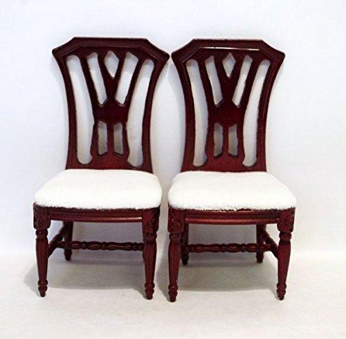 Polsterstuehle 2 Stück weiss oder braun Puppenhaus Möbel Miniaturen 1:12 (braun-mahagonie) -