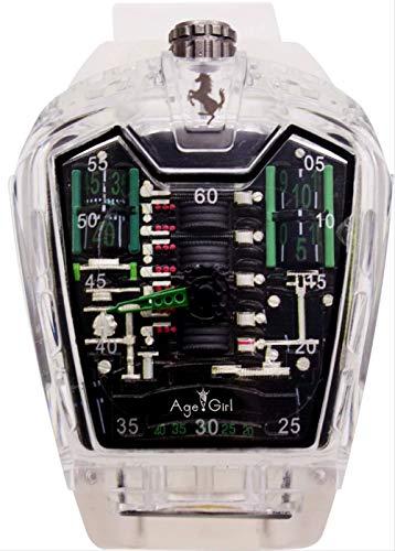 PLKNVT Neue Männer Luxusmarke New Quartz White Kunststoff Edelstahl Glas Zurück Sportuhren Clock MensGreen