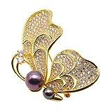 jyx golden-tone butterfly-brooch Tahiti Zuchtperle bezogene Lehnstuhl Southsea Brosche Pin Anhänger