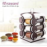 Floraware Plastic Revolving Spice Rack Set, 130ml, Set of 12, Dark Brown