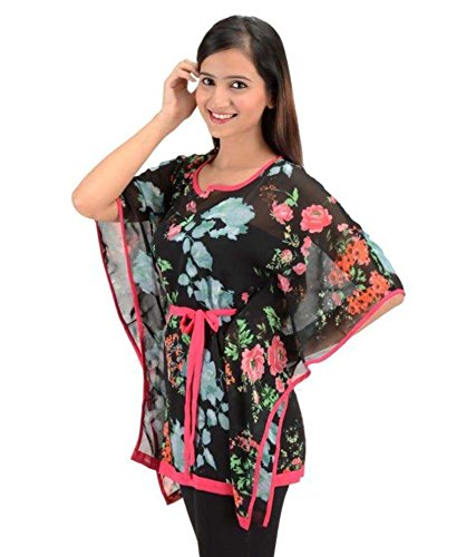 Timbre Women Short Black Floral Kaftan Top with Pink Piping and Belt...