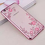 Oppo A57 ( Rose Pink Color ) Shockproof Silicone Soft Tpu Transparent Shining Flower Stylish Case With Sparkle Crystals Back Cover Case Brand Dustin
