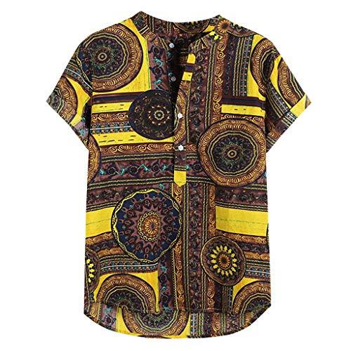 Overdose Camisetas T Shirt Hombre Henley De Manga Corta Impresas De Lino para Hombres Tie Summer Tops...