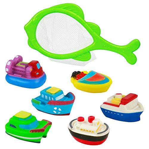 Baño Juguetes de Natación Bañera Barco Flotante Natación Playa Juguetes como Regalo para Niños Bebé (6 Barcos + 1 Red