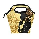 WOZO African Woman Giraffe Zebra Insulated Lunch Bag Tote Bag Cooler Lunchbox Handbag