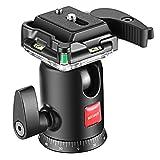 Neewer Testa a Sfera 360° Panoramica con Piastra a Sgancio Rapido e Livella a Bolla, per Treppiedi Monopiedi Reflex Digitali Videocamere, Massima Capacità di Carico 5KG
