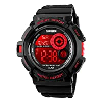 Boy's Digital Watch Military Sports Watch with Alarm Stopwatch LED Backlight Waterproof Kids Watch for Boys