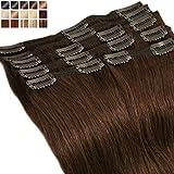 Extensions a Clip Cheveux Naturel Rajout Cheveux Naturel Châtain - 100% Remy Hair 8 Pcs (30cm-115g, 04 Marron Chocolat)