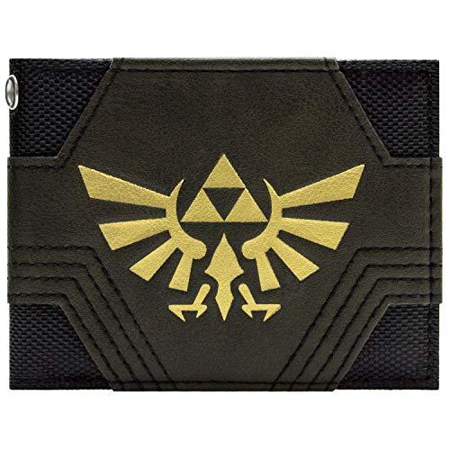 Cartera Nintendo Zelda Textura Oro Triforce Negro