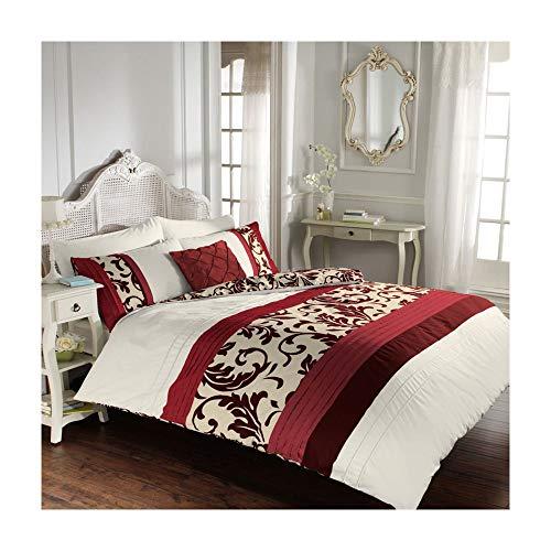 Luxus-Bettbezug-Sets mit Kissenbezug neue reversible Polycotton Bettwäsche (Scroll Rot, Super König) (Schokoladen-könig Bettwäsche-sets)