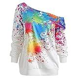 JMETRIC Lässige Mode trägerlos Lange Ärmel bunt bedruckten Pullover Top 3 Farben