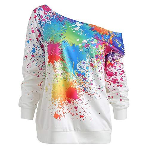 DressLksnf Camicia Donna Elegante Felpe con Stampa Maglietta a Manica Lunga  con Colletto Obliquo T- 2c77f73cd8c