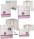 4 tlg. Set: Fotoalbum + Babytagebuch + Taufalbum + Album - Baby - ' Eule & Blumen ' - Gebunden zum Einkleben - Fotobuch / Photoalbum / Babyalbum - für Mädchen - Kinder Babys Neugeborene / zur Geburt