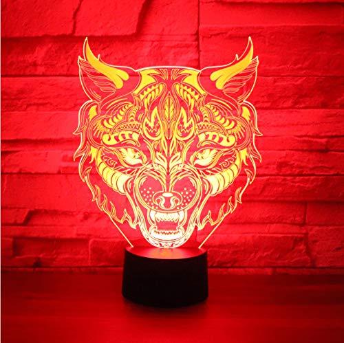 luanxiaonie Optische Täuschung 3D Led Nachtlicht Leopard Front Mit 7 Farben Licht Für Hauptdekoration Lampe Erstaunliche Sichtbarmachung Optische Täuschung Ehrfürchtig Bunte Rissbasis -