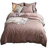 Sticker Superb 4-teiliges Bett aus Baumwolle Bettwäsche-Sets Bettbezug im Europäischen Plaid-Stil Erwachsenes Kind (1 Bettbezug+1 Flat Sheet+2 Kissenbezüge) (Rosa-Plaid, 220 * 240cm)