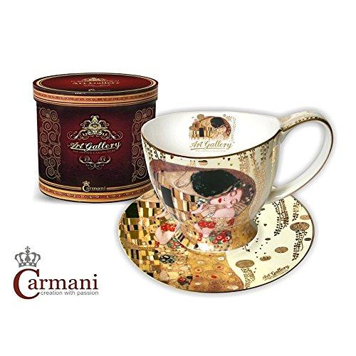 CARMANI - Gustav Klimt 'Le Baiser' de la Coupe porcelaine avec soucoupe 350ml