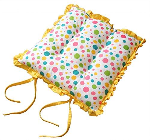 Homescapes Rüschenkissen zum Wenden 40 x 40 cm Stuhlkissen mit Bändern Polka Dots Multi Sitzkissen mit Rüschen (Rüsche Band)