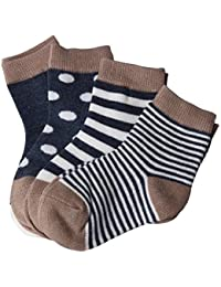 Koly 4 Pack Booties, Calcetines Bebé, Calcetines Niño, raya del color (1-3 años)