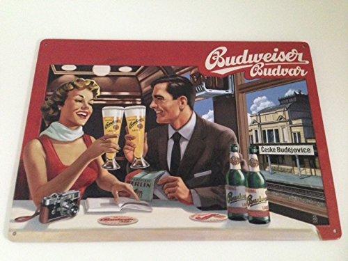 budweiser-cerveza-cartel-de-chapa-pareja-en-viaje-en-tren-llano-vagon-budvar-8